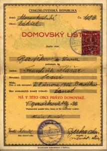 Domovský list Františka Flášara